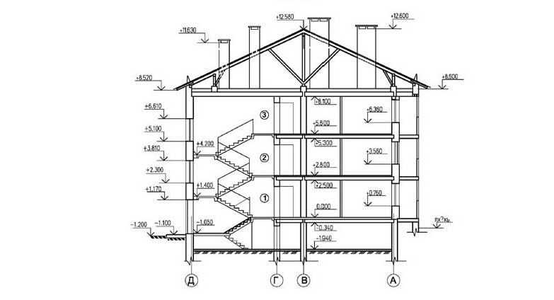 Проект 24-квартирного жилого дома. Разрез 2-2