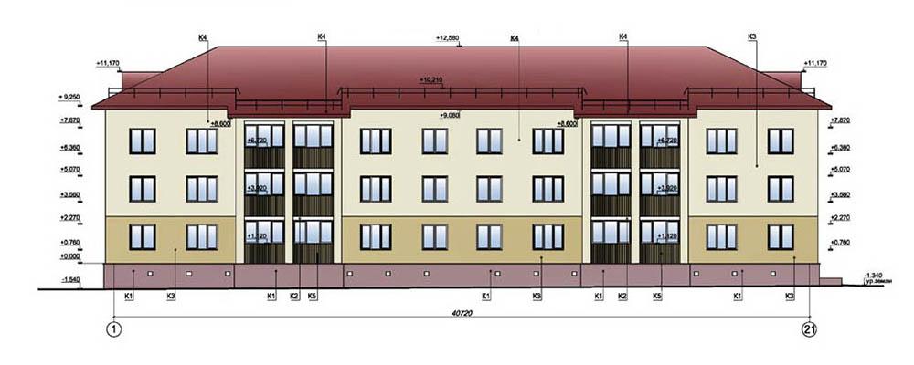 Проект 24-квартирного жилого дома. Фасад в осях 1-21
