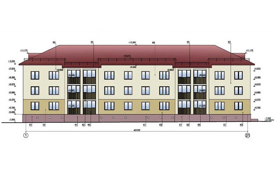 24-квартирный жилой дом. Фасад в осях 1-21