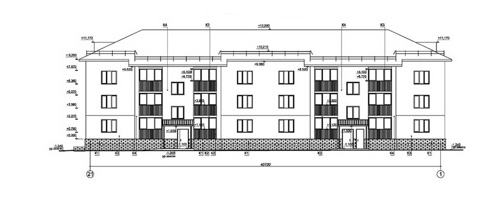 Проект 24-квартирного жилого дома. Фасад в осях 21-1