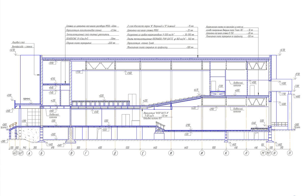 Проект центра культурного развития. Разрез 2-2