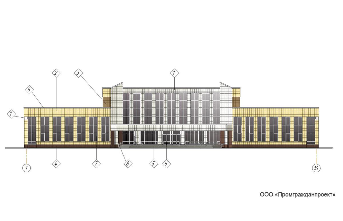 Проект центра культурного развития. Фасад в осях 1-16