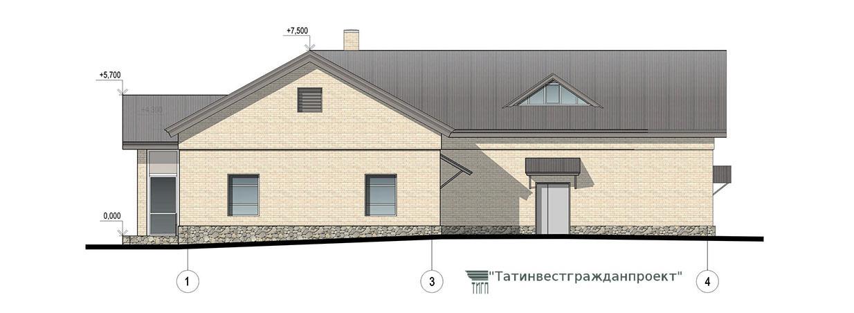 Типовой проект сельского дома культуры на 100 мес. Фасад 1-4