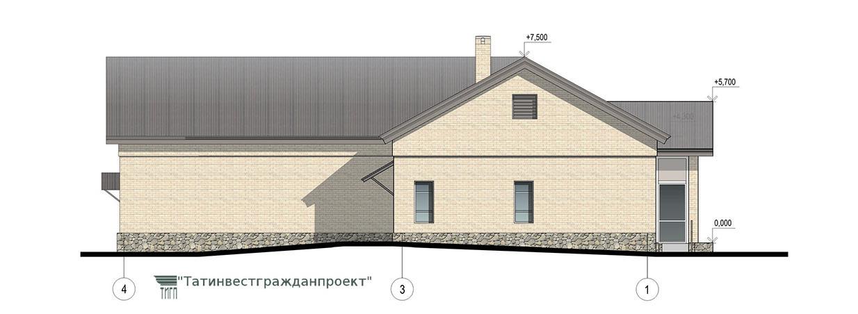 Типовой проект сельского дома культуры на 100 мес.  Фасад 4-1