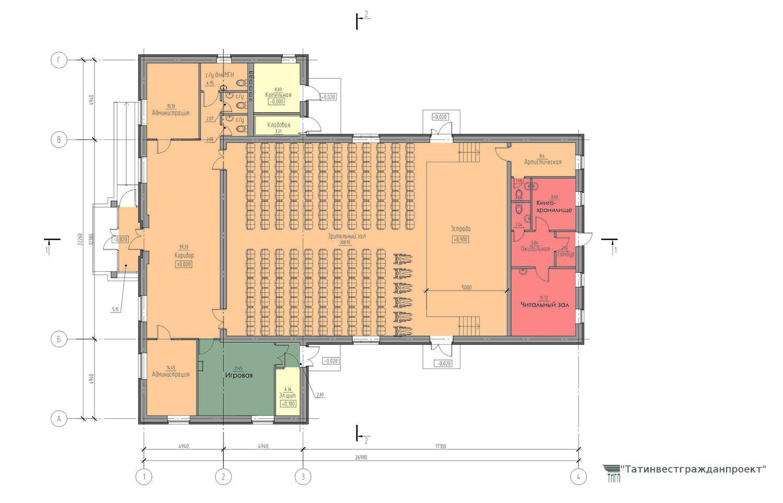Типовой проект сельского дома культуры на 200 мест. План 1 го этажа(вариант с библиотекой)