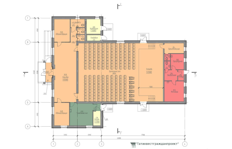Типовой проект сельского дома культуры на 200 мест. План 1 го этажа
