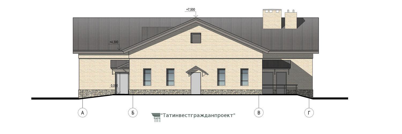Типовой проект сельского дома культуры на 200 мест. Фасад А-Г