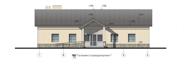 Типовой проект сельского дома культуры на 200 мест. Фасад Г-А