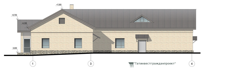 Типовой проект сельского дома культуры на 200 мест. Фасад 1-4