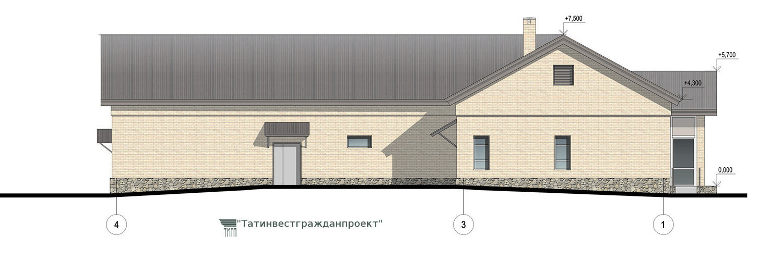 Типовой проект сельского дома культуры на 200 мест. Фасад 4-1