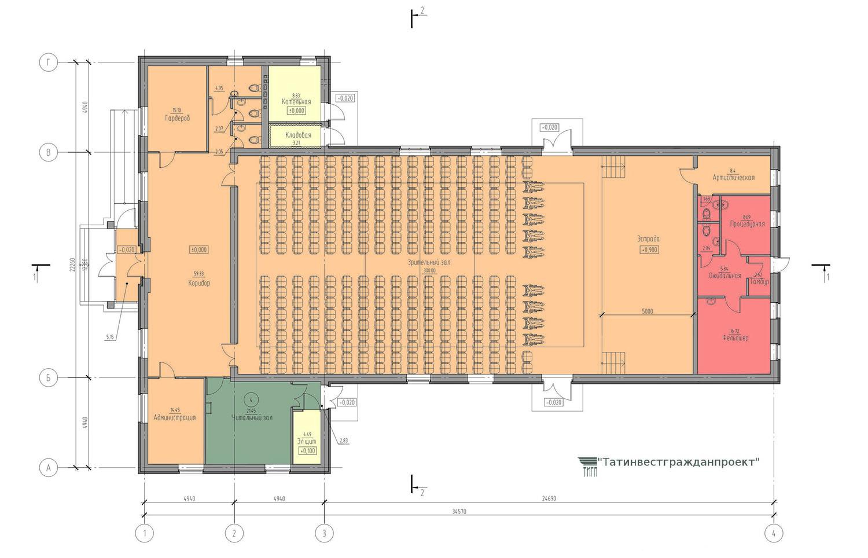 Типовой проект сельского дома культуры на 300 мест. План 1 этажа (с библиотекой)
