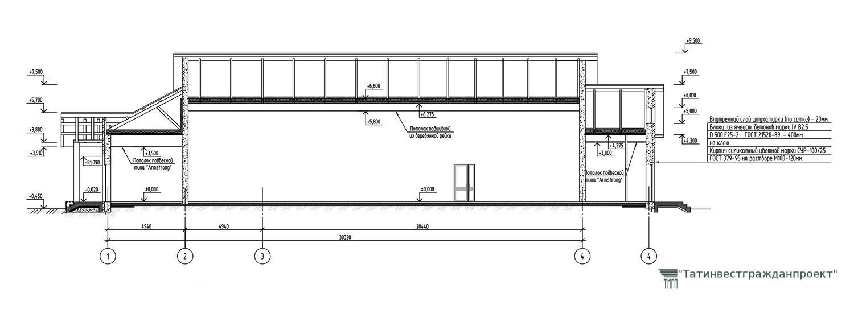 Типовой проект сельского дома культуры на 300 мест. Разрез 1-1