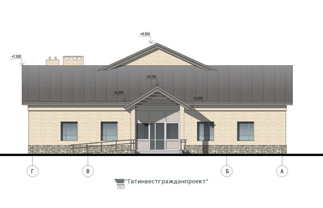 Типовой проект сельского дома культуры на 300 мест. Фасад Г-А