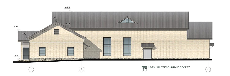 Типовой проект сельского дома культуры на 300 мест. Фасад 1-4