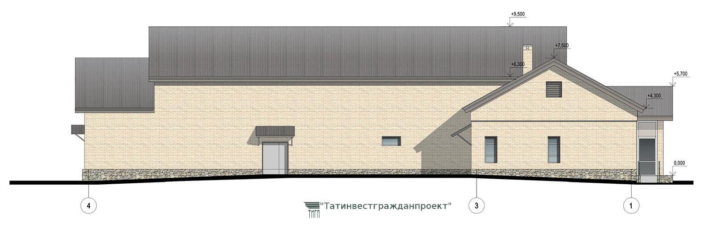 Типовой проект сельского дома культуры на 300 мест. Фасад 4-1