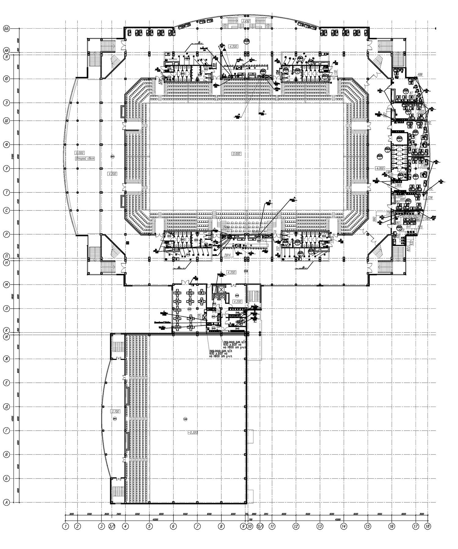 Проект центра волейбола. План на отм. +4.200