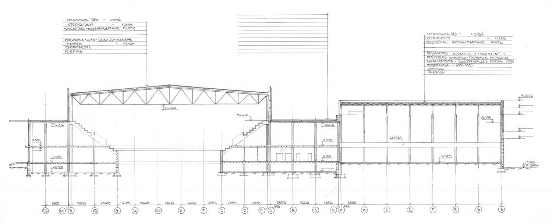 Проект центра волейбола.  Разрез-1-1