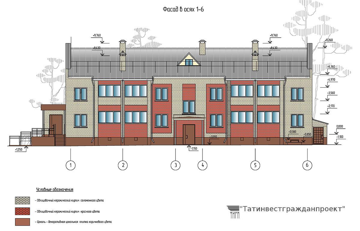 Проект 2-х этажного 16 квартирного жилого дома. Фасад в осях 1-6