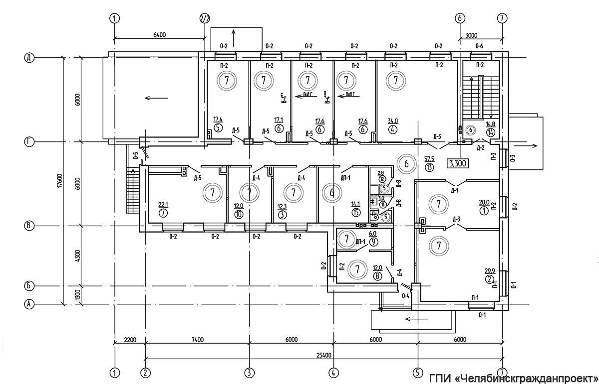 Проект административного 2-х этажного здания. План 2-го этажа
