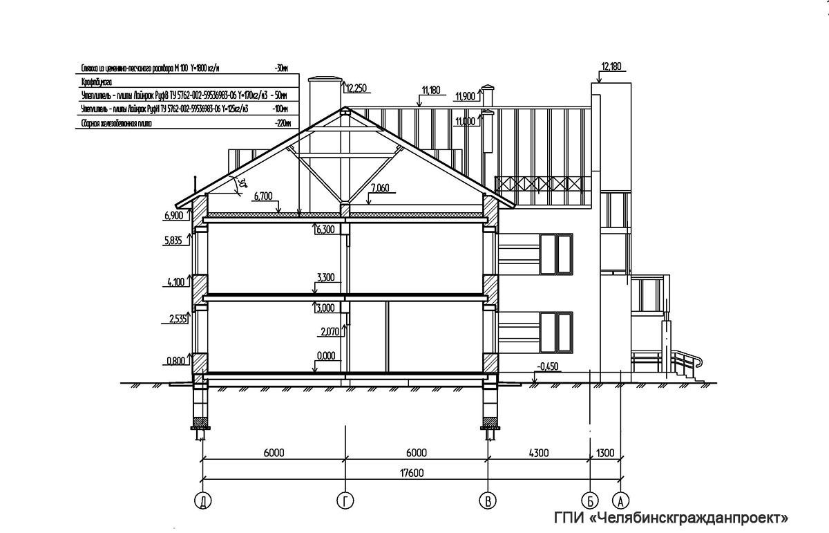 Проект административного 2-х этажного здания. Разрез 2-2