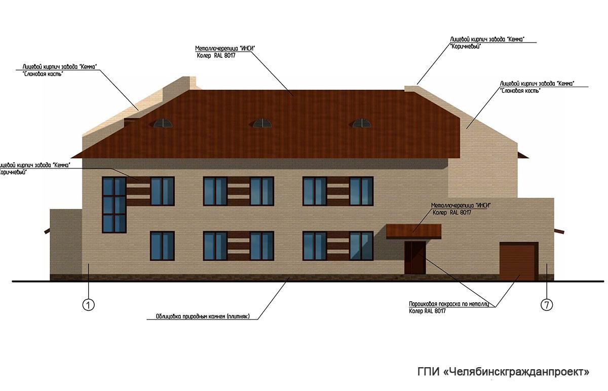 Проект административного 2-х этажного здания. Фасад в осях 7-1