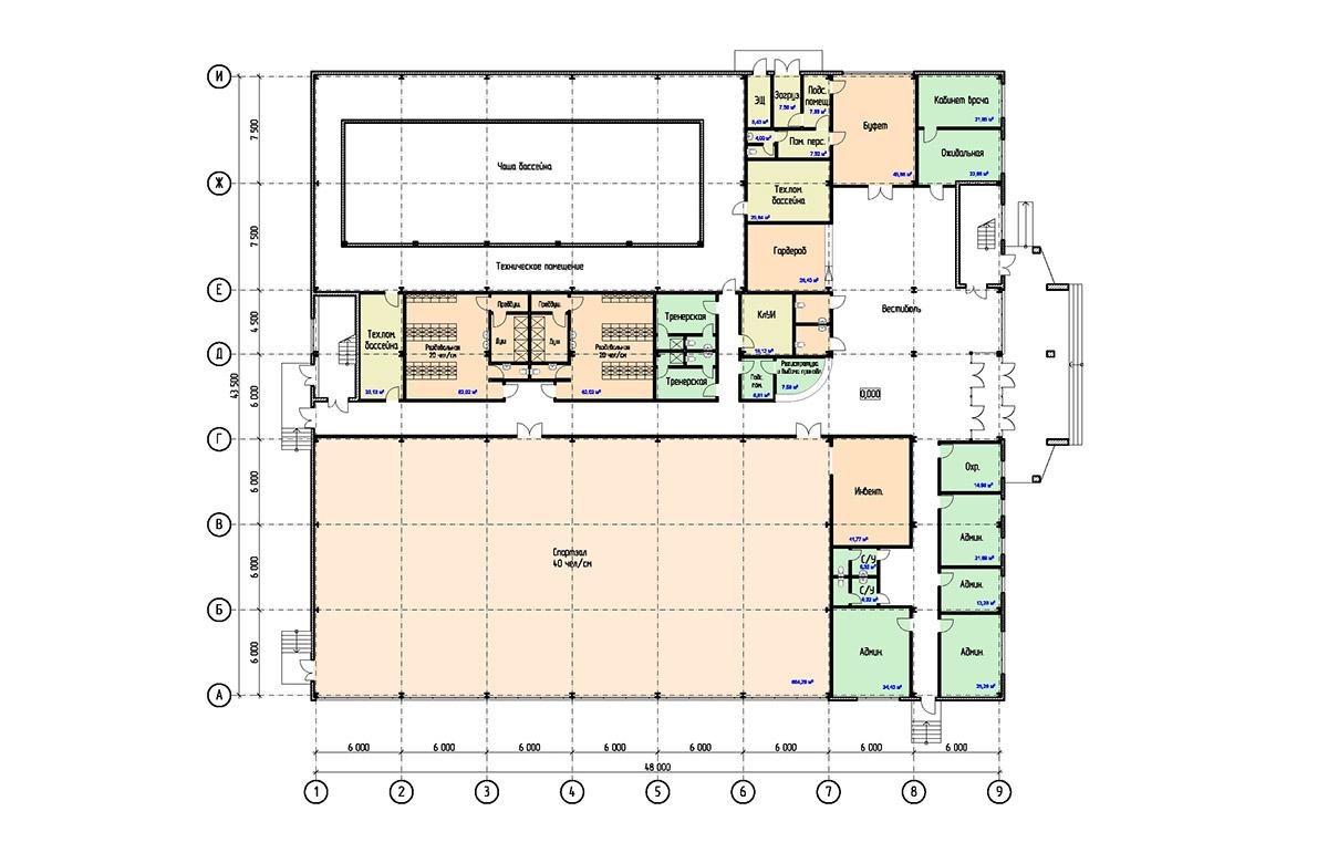 Проект физкультурно-оздоровительного комплекса с бассейном. План на отм. 0.000