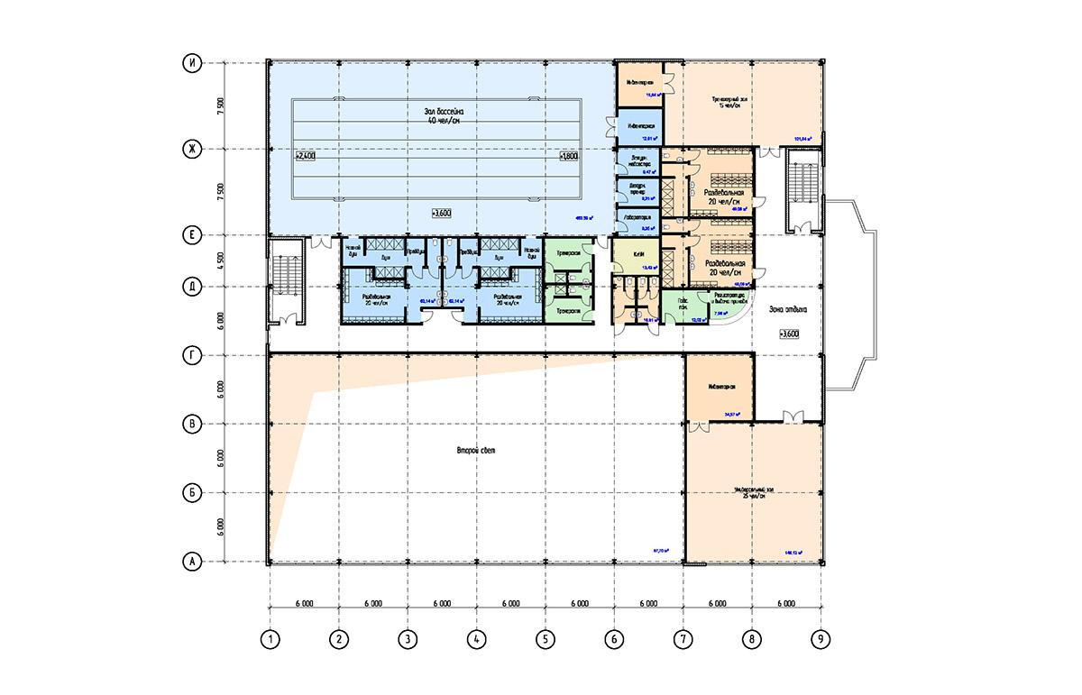 Проект физкультурно-оздоровительного комплекса с бассейном. План на отм. +3.600