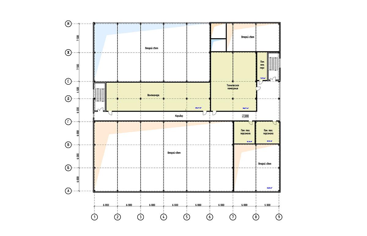 Проект физкультурно-оздоровительного комплекса с бассейном. План на отм. +7.200