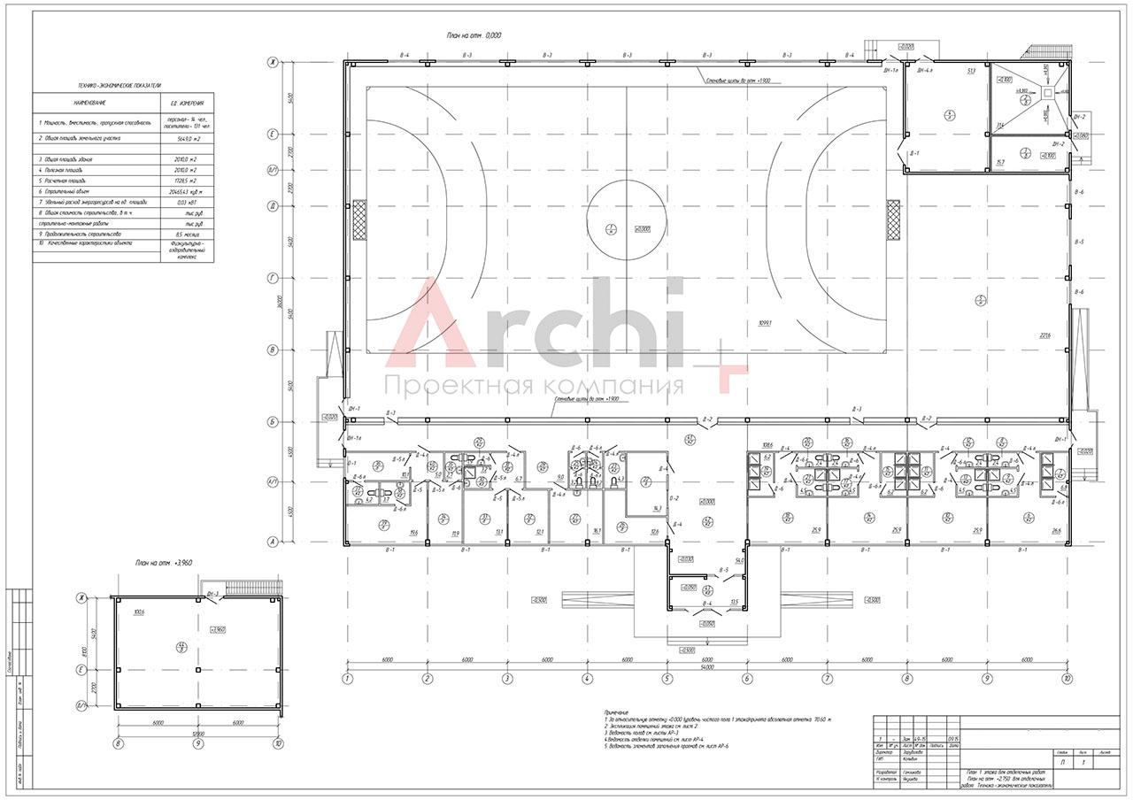 Проект физкультурно-оздоровительного комплекса для игровых видов спорта в г. Череповец. План этажа на отм. 0.000