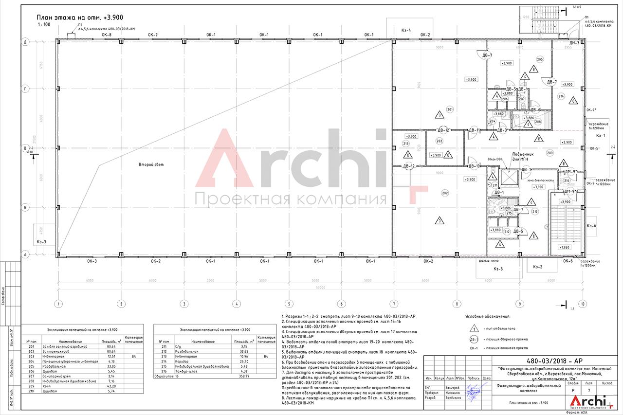 Проект физкультурно-оздоровительного комплекса. План этажа на отм. +3.900