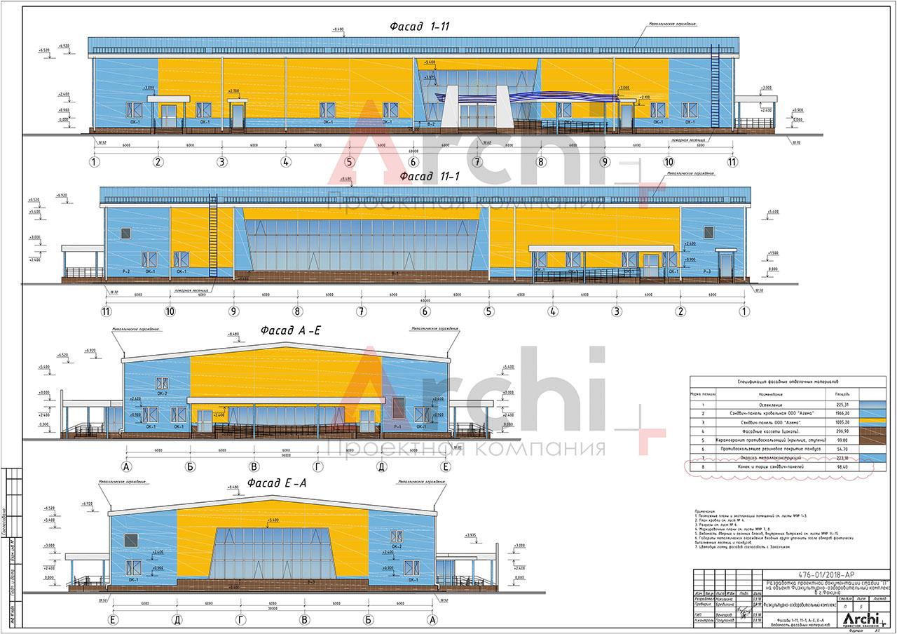 Проект физкультурно-оздоровительного комплекса в городском округе ЗАТО город Фокино. Фасады