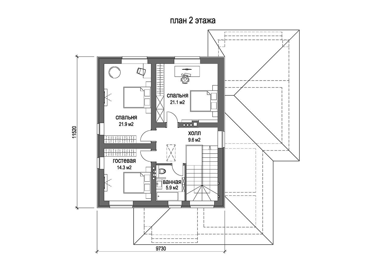 Проект 2-х этажного коттеджа. План 2 этажа
